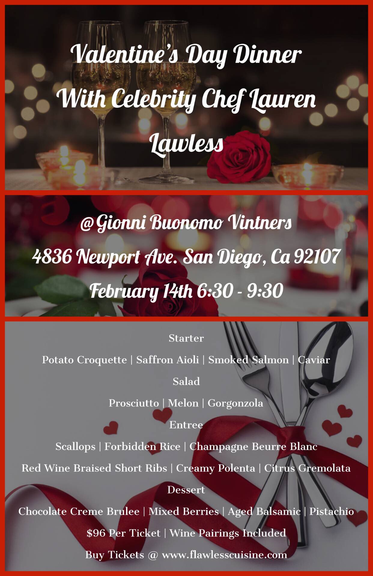 Valentine's Day Dinner With Celebrity Chef  Lauren Lawless (almost sold out)